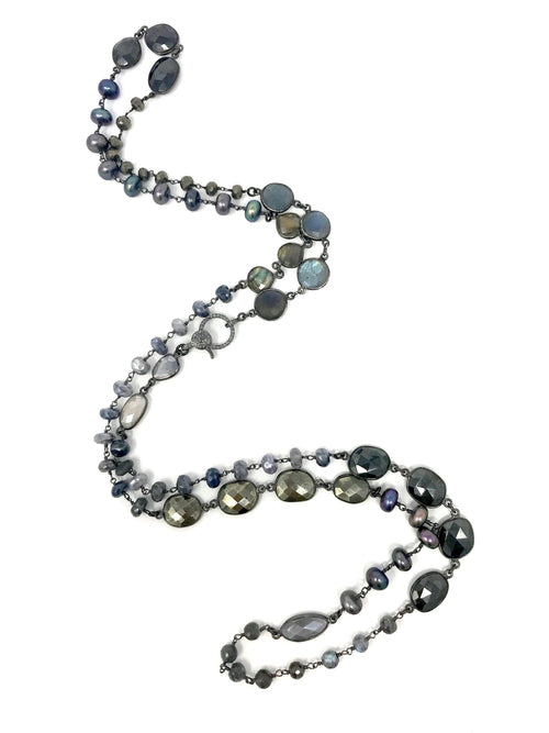 Assorted Freshwater Pearl and Gemstone Chain in Gunmetal with Pave Diamond Clasp