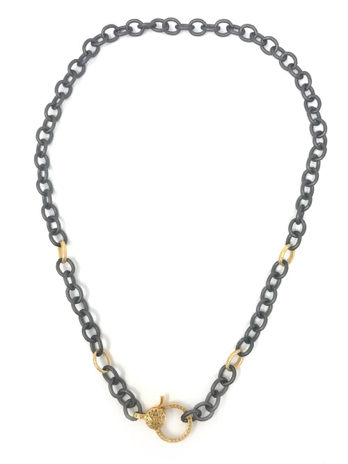 Gunmetal with Gold Accent Chain with Vermeil Pave Diamond Clasp