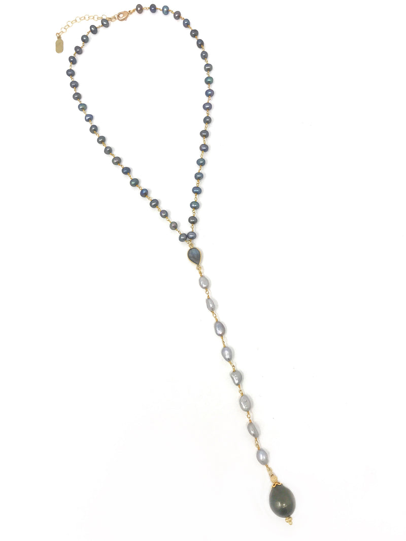 "Tahitian Pearl Pendant on Peacock and Gray Freshwater Pearl ""Y"" Necklace"
