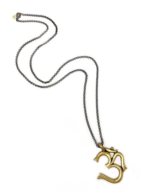 Brass Om Pendant on Gunmetal Chain