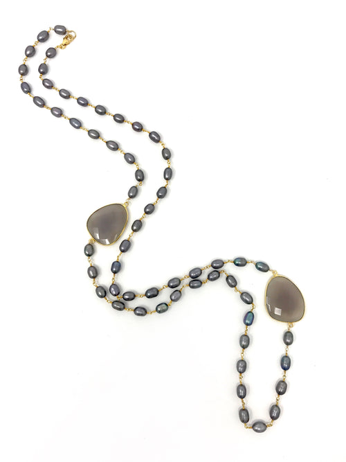 Gray Baroque Freshwater Pearl and Gray Chalcedony Necklace