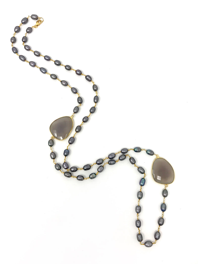 Gray Baroque Freshwater Pearls with Gray Chalcedony - Necklace