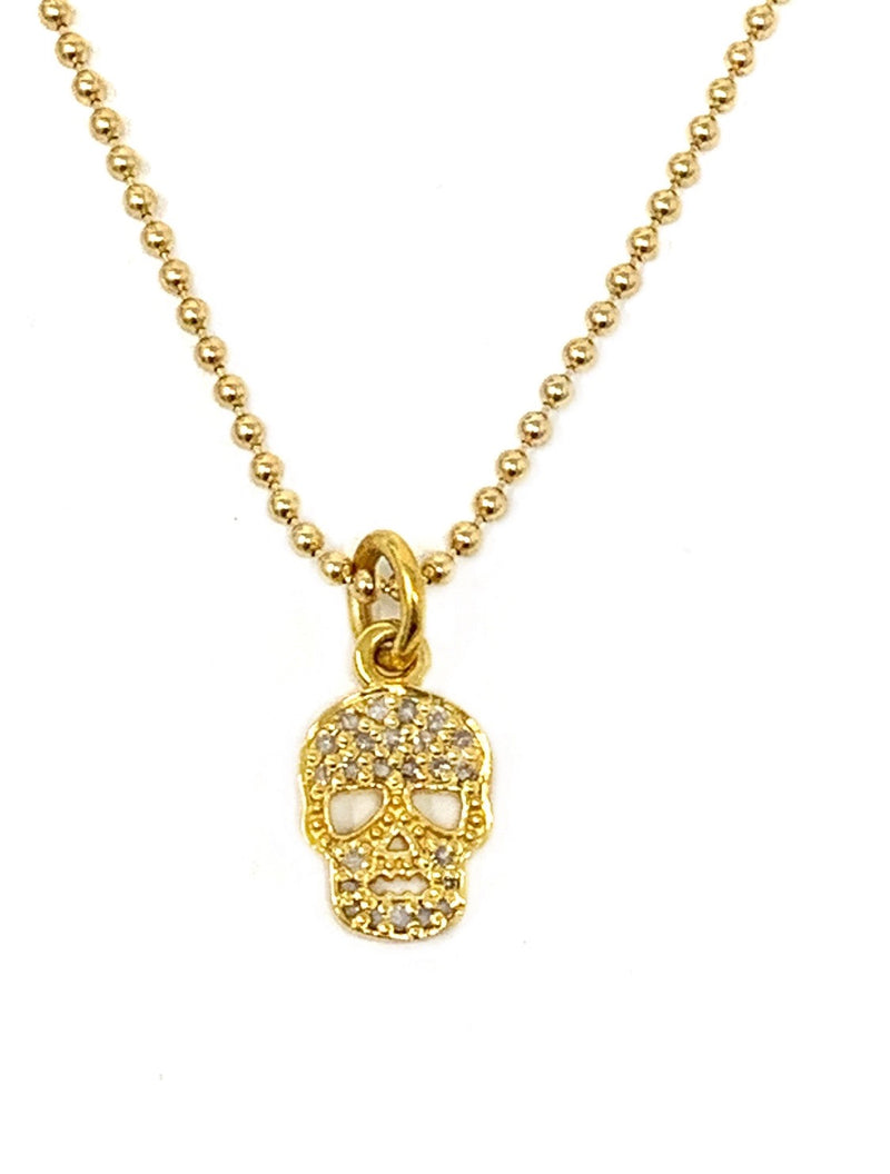 Pave Diamond Skull Charm on Chain