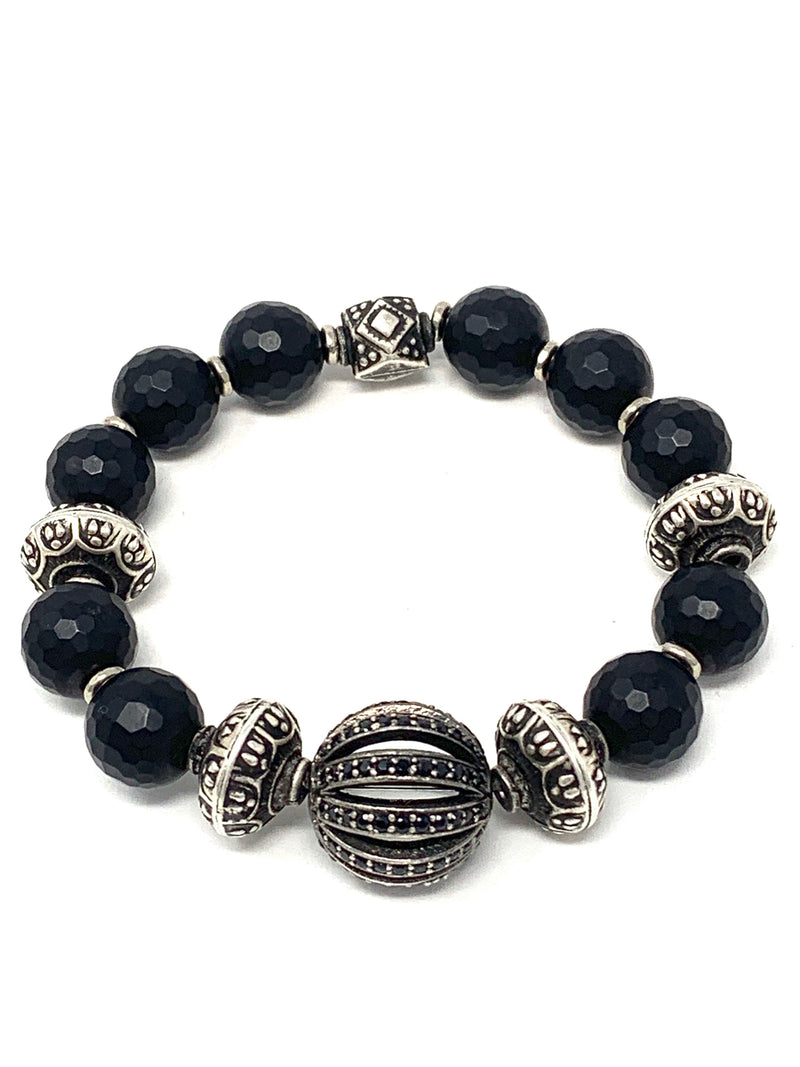 Faceted Matte Onyx and Pave Spinel and Vintage Silver Beaded Bracelet