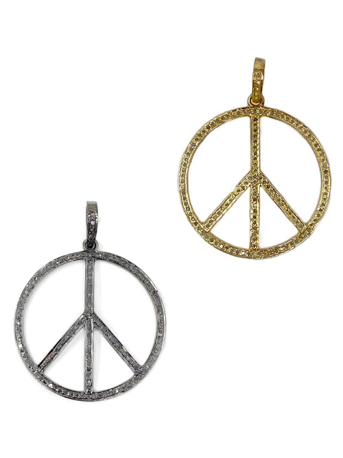 Medium Diamond and Round Peace Sign Pendant