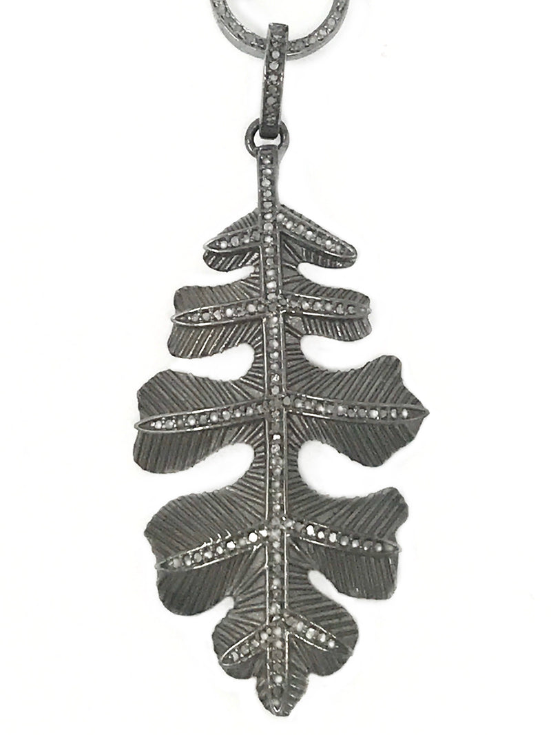 Sterling Silver with Pave Diamond Accents Leaf Pendant
