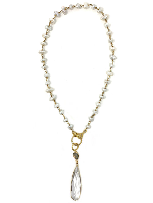 Freshwater Pearls with Diamond Clasp and Quartz and Labradorite Pendant - Necklace