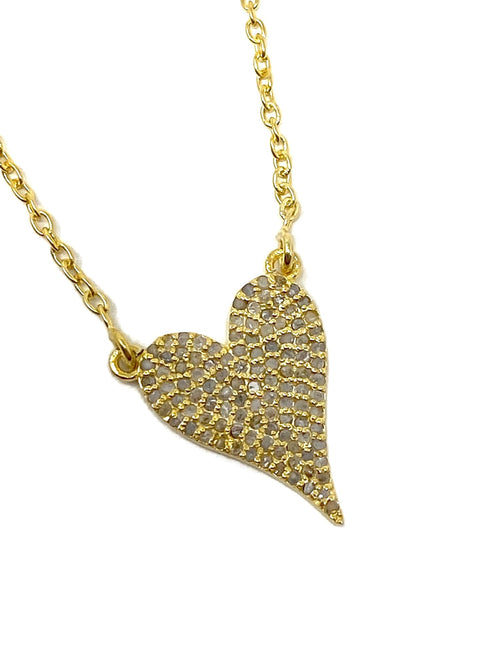 Champagne Diamond Heart Necklace