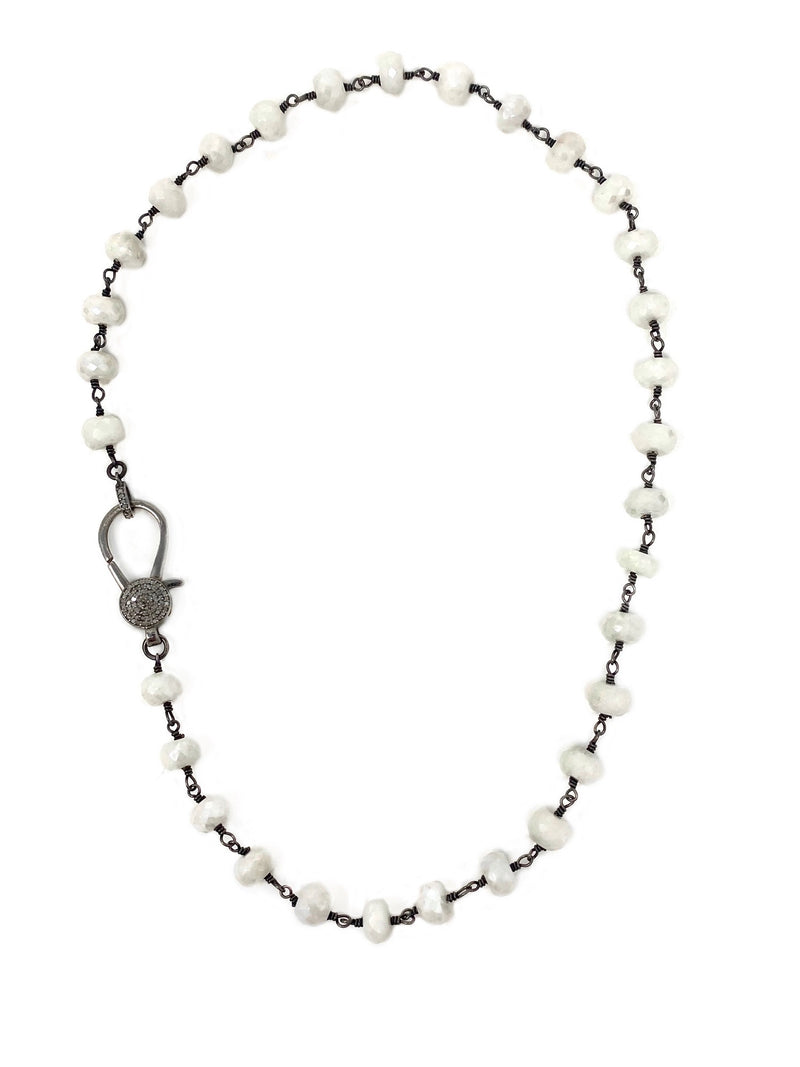 White Agate Chain with Diamond Accent Clasp