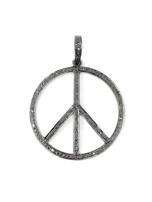 Medium Diamond and Sterling Silver Round Peace Sign Pendant
