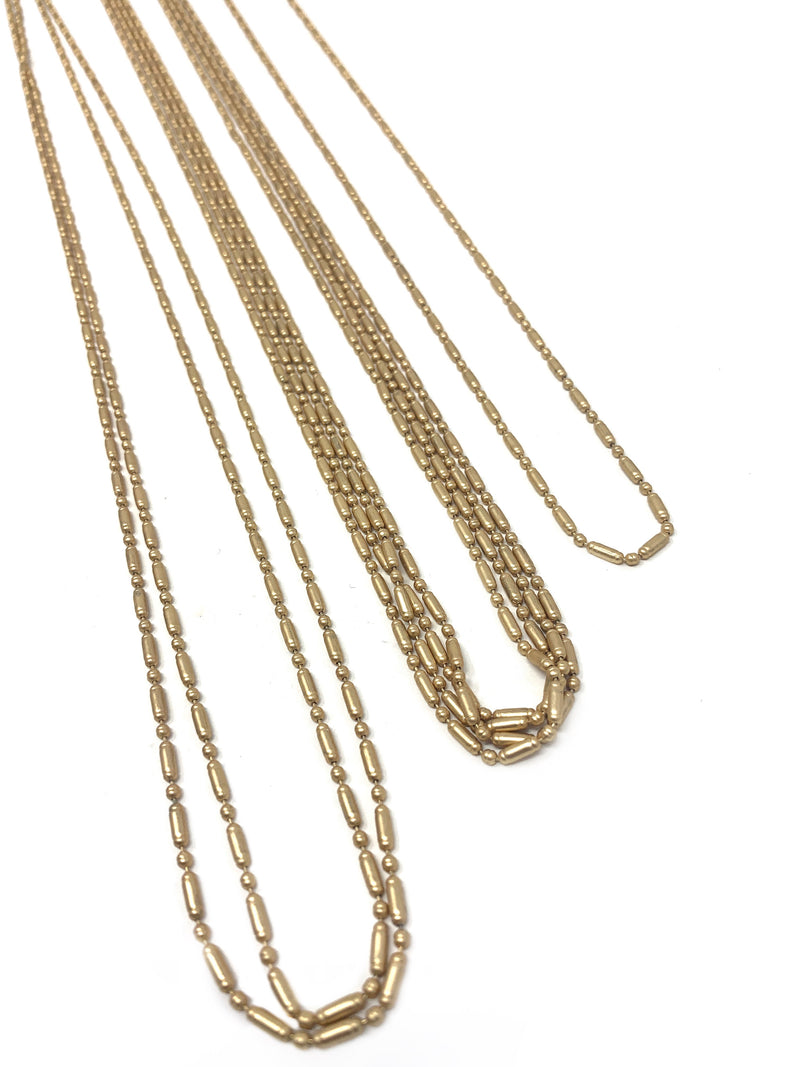 Matte Gold Ball / Bar Chain - 2mm