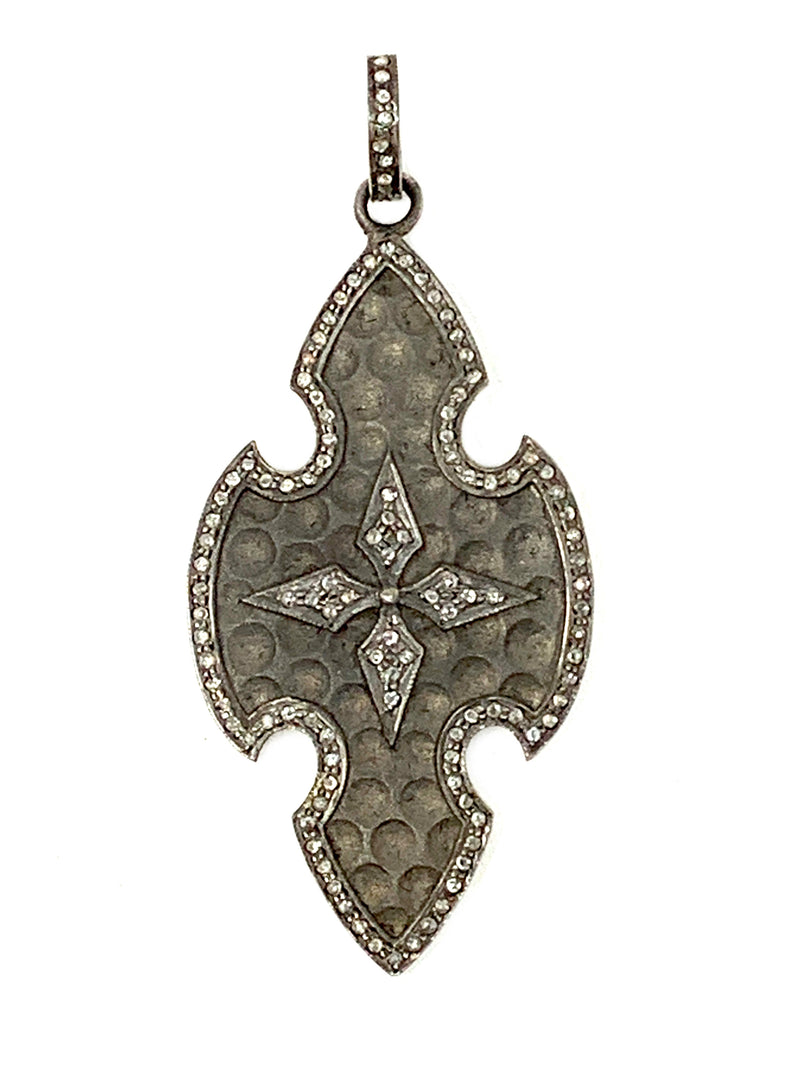 Matte Sterling and Pave Diamond Cross Shield Pendant