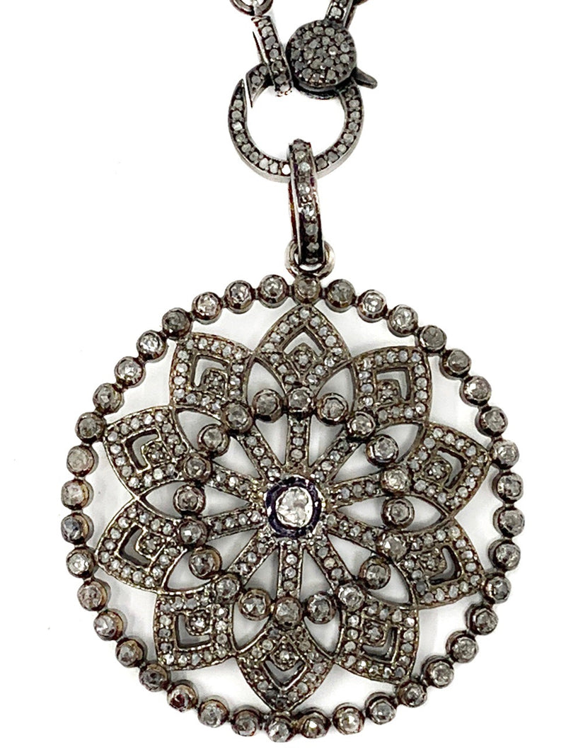 Vintage Style Snowflake Pave Diamond with Polki Diamond Center Pendant