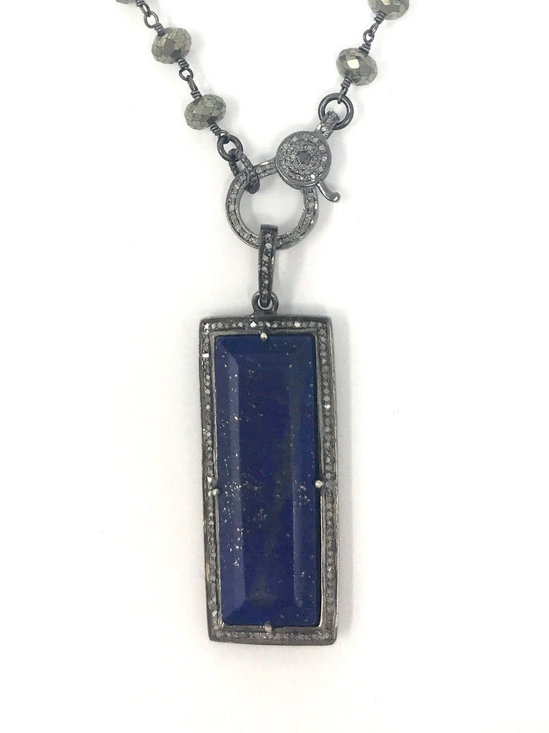 Lapis and Pave Diamond Rectangle Pendant