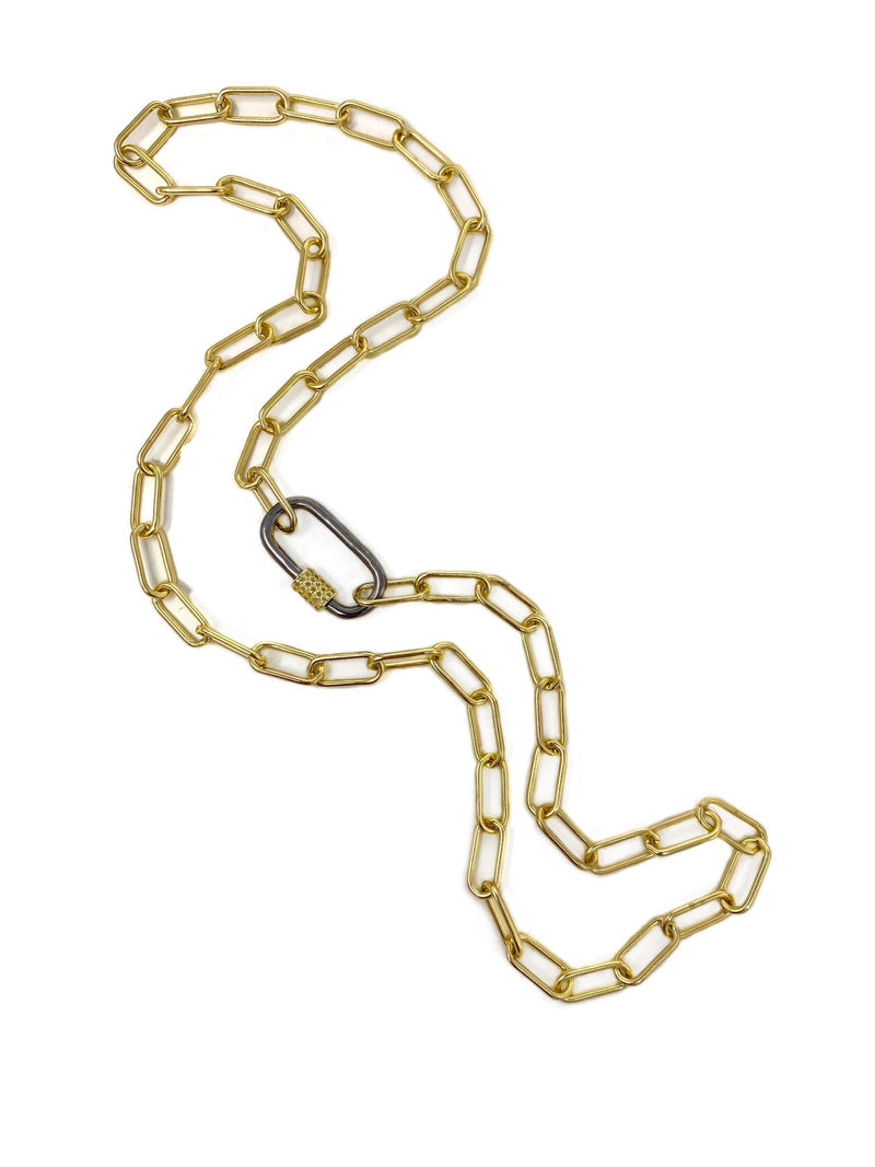 Chunky Paper Clip Chain with Sterling and Diamond Accent Carabiner