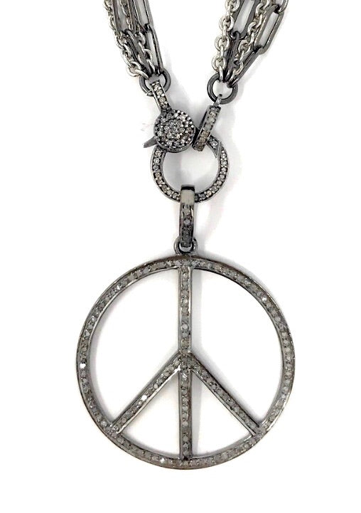 Pave Diamond and Oxidized Sterling Silver Round Peace Sign Pendant