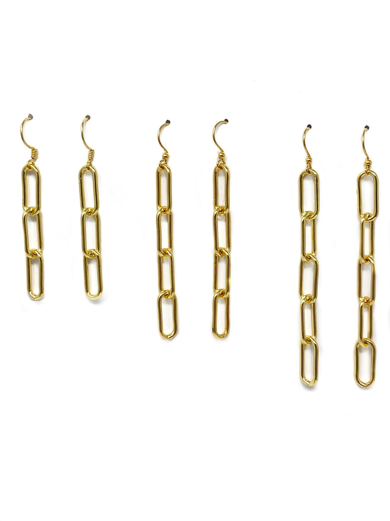 Modern Paper Clip Link Earrings - Three Lengths