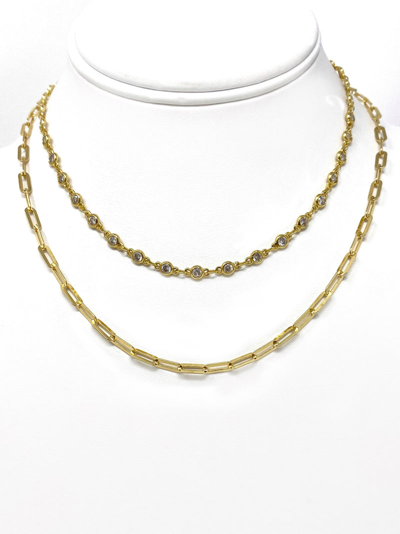 Modern Two Necklace Set - Paper Clip Chain and Cubic Zirconia Chain