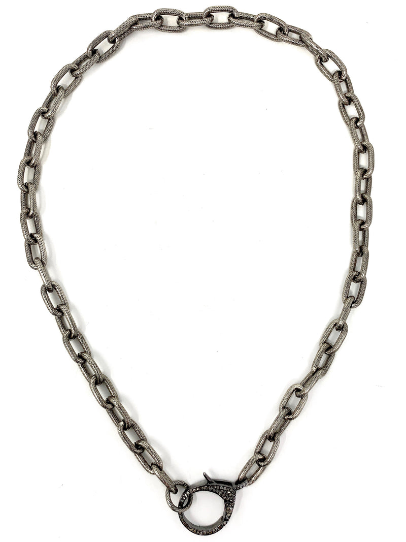 Chunky Textured Link Chain with Large Pave Diamond Clasp
