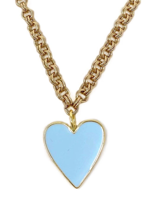 Light Blue Enamel Medium Heart on Gold Double Rolo Chain