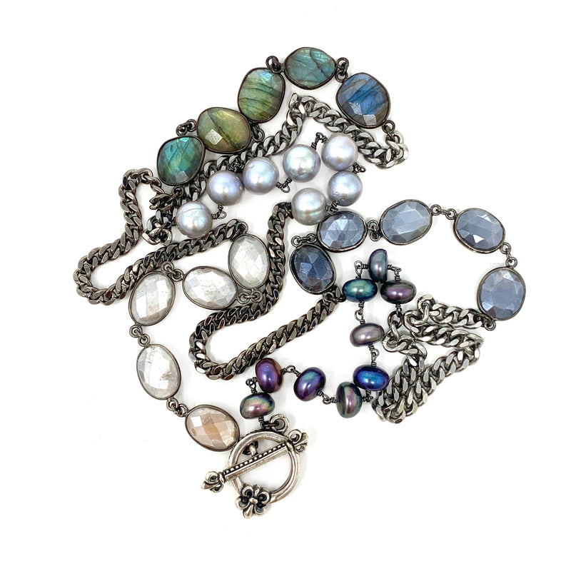 Mixed Gemstones, Pearls and Curb Chain with Decorative Toggle