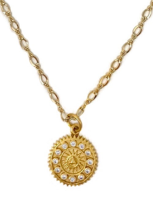 Vermeil and White Sapphire Compass pendant on Gold Filled Chain