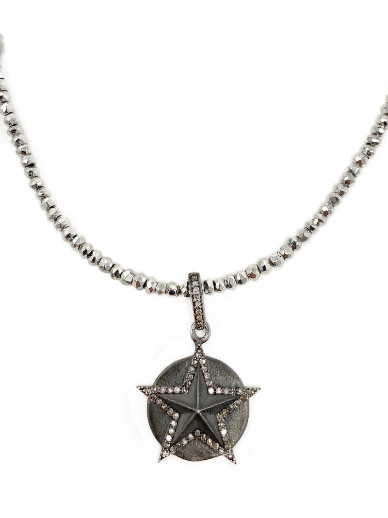 Matte Sterling and Diamond Circle/Star Pendant on Silver Pyrite Chain