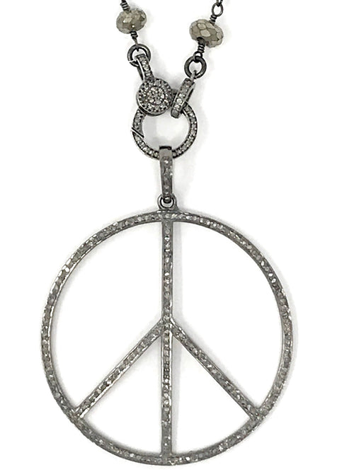 Large Pave Diamond and Oxidized Sterling Silver Peace Sign Pendant