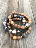 Earthy Jasper and Agate with Distressed African Silver Beaded Bracelets