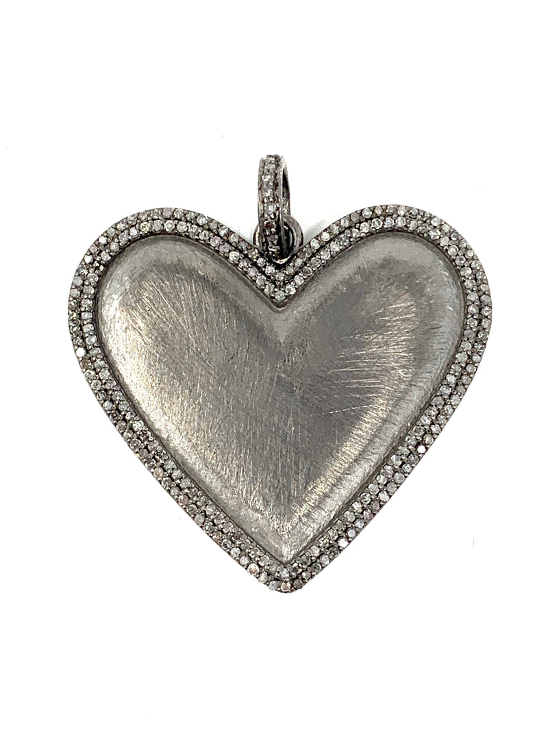 Matte Sterling and Pave Diamond Heart Pendant