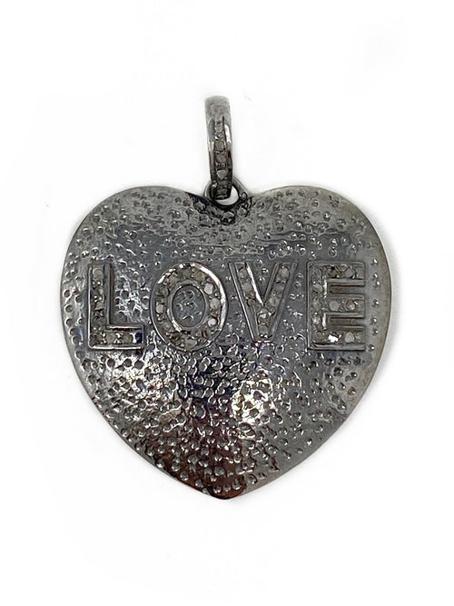 Textured Sterling Heart with Pave Diamond LOVE