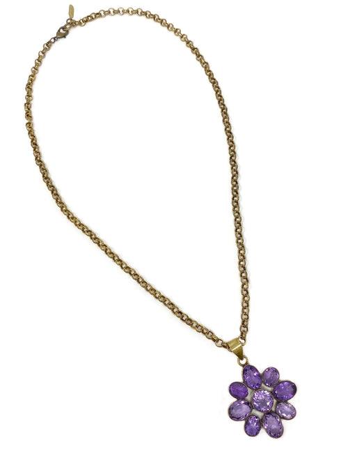 Amethyst Flower Pendant set in Brass in Vintage Brass Chain