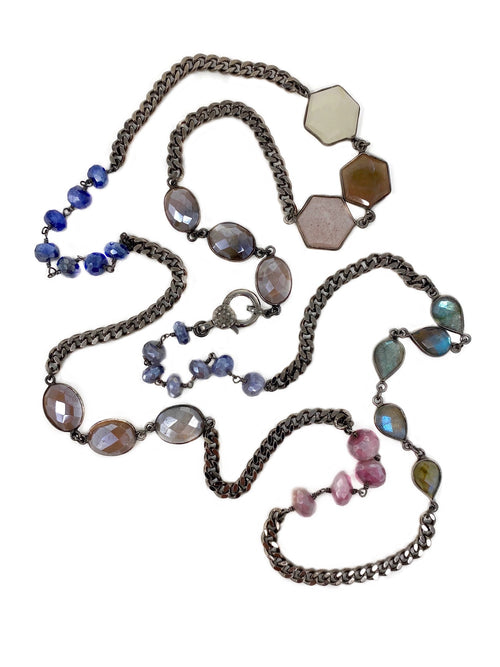 Colored Gemstones with Curb Chain and Diamond Accent Clasp