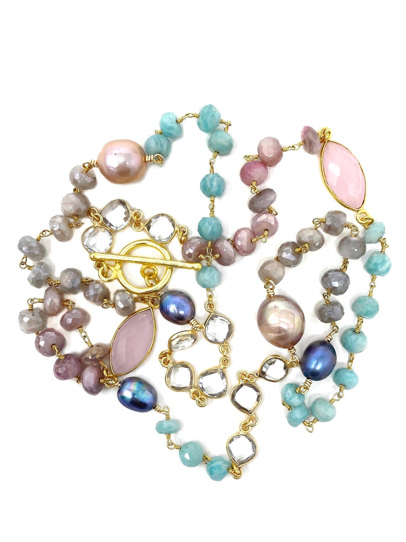 Pastel Gemstones and Pearls with a Gold Toggle Clasp