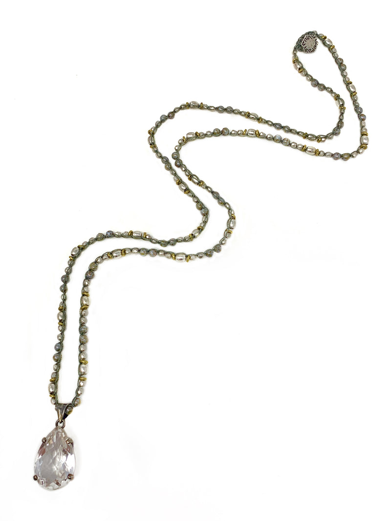 Quartz Pendant on Brass and Silver Beaded Crochet Chain