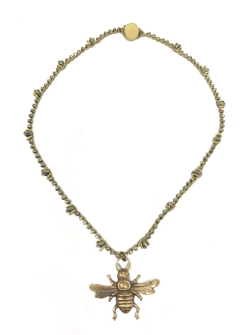 Crocheted Pyrite with Vintage Brass Bee Pendant