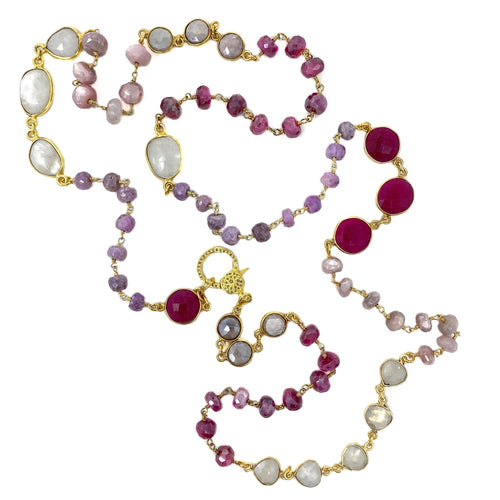 Shades of Pink Gemstone Chain with Diamond Clasp
