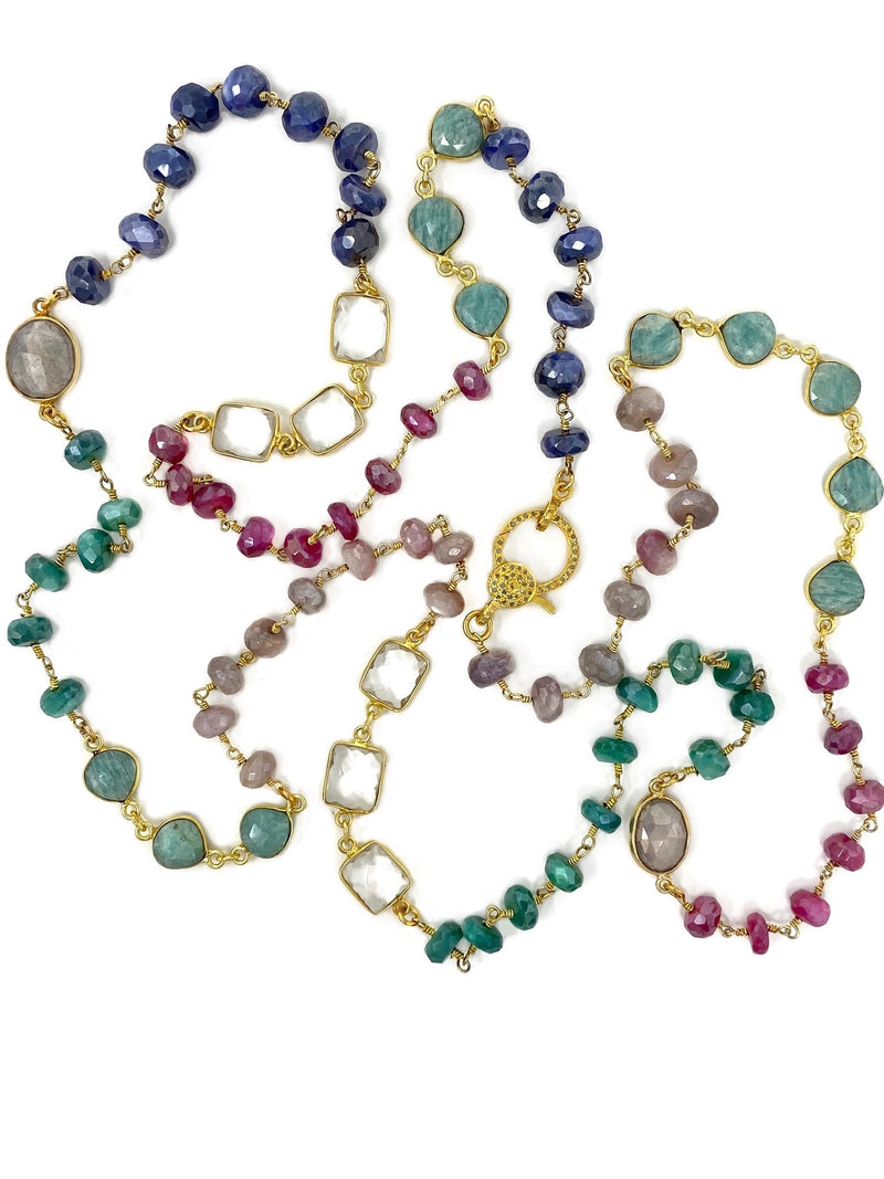 Mixed Green and Pink and Blue Gemstone Chain with Diamond Clasp