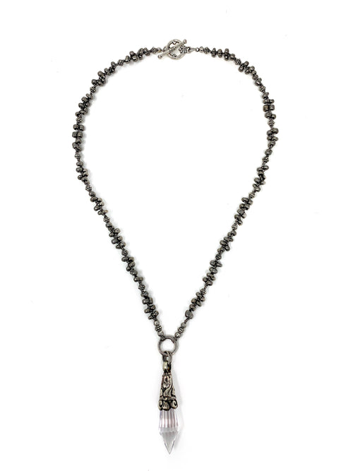 Crocheted Pyrite and Silver Beads with Tibetan Crystal Pendant