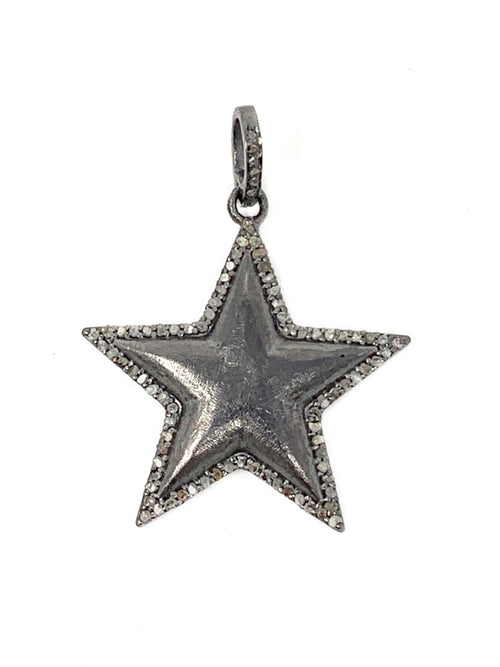Matte Sterling and Pave Diamond Outline Star