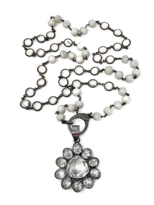 Quartz and White Agate Flower Necklace with Diamond Accent Clasp
