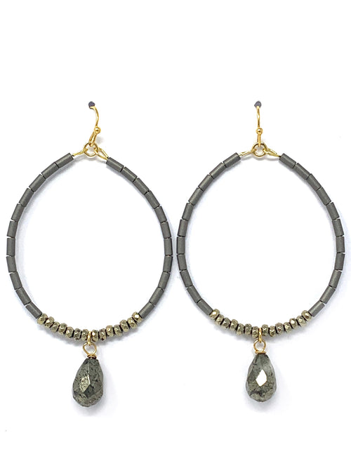 Hematite Tube Bead and Pyrite Hoops with Pyrite Drop Earrings