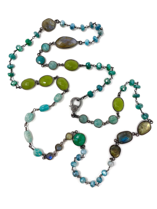 Shades of Green Gemstones with Diamond Accent Clasp Chain