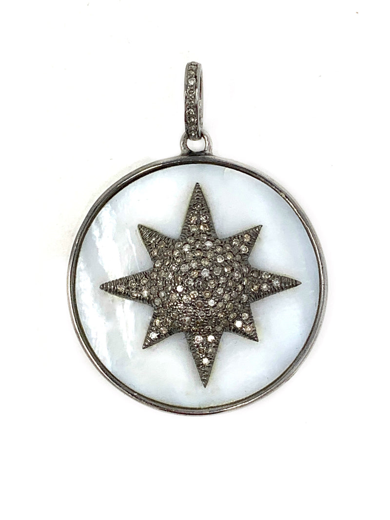Mother of Pearl Circle with Pave Diamond Star