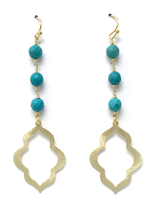 Turquoise and Gold Scalloped Drop Earrings