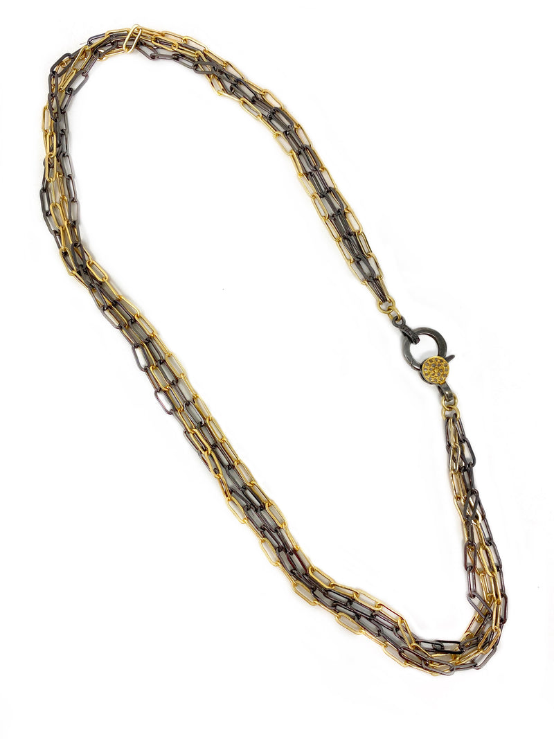 Two Tone Paper Clip Four Chain Necklace with Diamond Accent Clasp