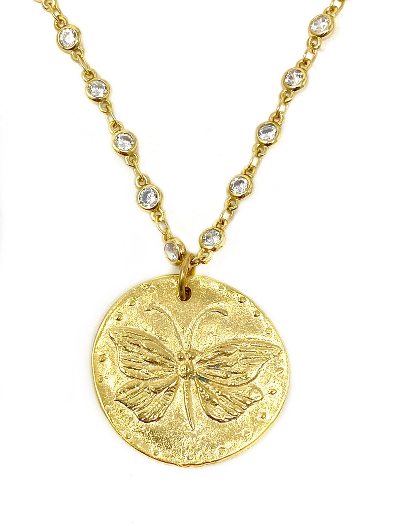 Butterfly Matte Gold Medallion on Cubic Zirconia Chain