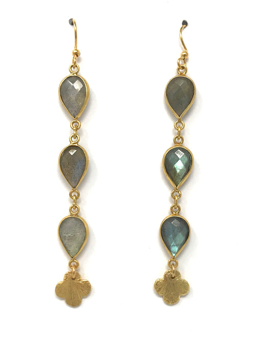 Labradorite Triple Drop with Clover Earrings