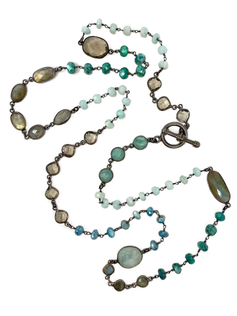 Shades of Brown and Green Gemstone Chain with Toggle Clasp
