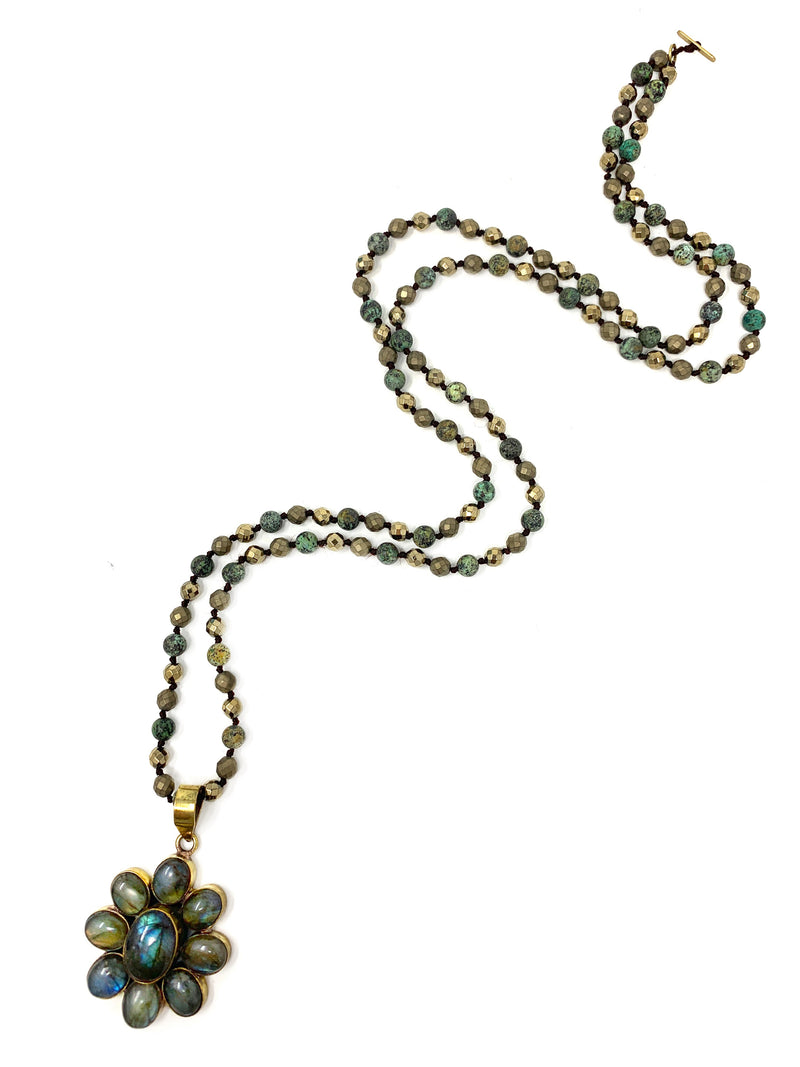 Labradorite Flower Pendant on African Turquoise and Pyrite Beads